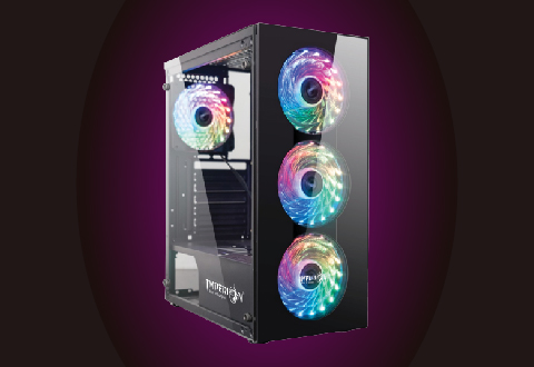 Tempered Glass at Front and Left Side, Rainbow Fan x 3 at Front   Rainbow Fan x 1 at Rear.